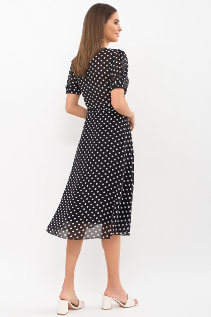 . Платье Алеста к/р. Цвет: черный-белый горох цена