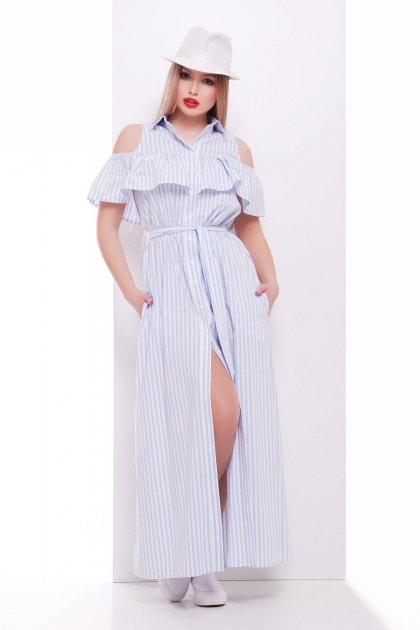 летнее платье в полоску. Платье Лаванья б/р. Цвет: голубая полоска цена