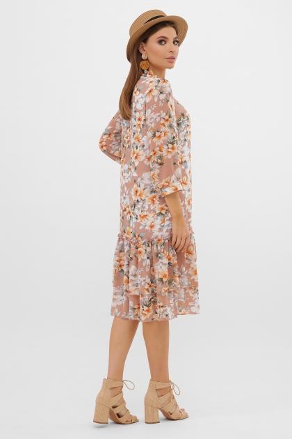 платье хаки из шифона. Платье Элисон 3/4. Цвет: бежевый-цветы оранж. в интернет-магазине