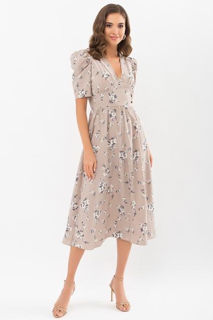 . Платье Фариза к/р. Цвет: бежевый-белый букет купить