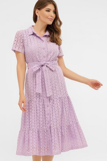 персиковое платье из хлопка. Платье Уника 1 к/р. Цвет: лавандовый купить