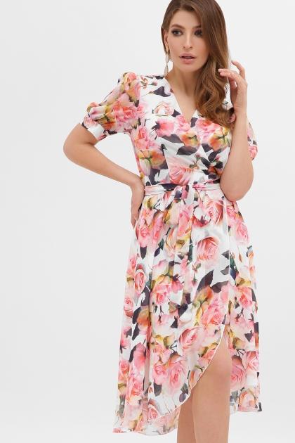 . Платье Алеста к/р. Цвет: белый-розы купить