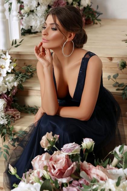 длинное синее платье. Платье Вайнона б/р. Цвет: синий недорого