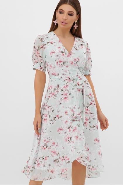 . Платье Алеста к/р. Цвет: мята-цветы розов. купить