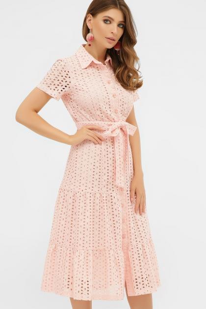 персиковое платье из хлопка. Платье Уника 1 к/р. Цвет: персик цена