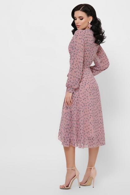 нежное платье на запах. Платье Алеста д/р. Цвет: лиловый-цветы синие в интернет-магазине