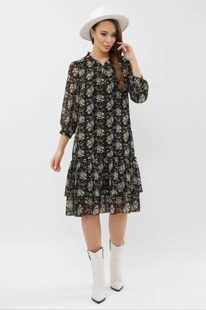 платье хаки из шифона. Платье Элисон 3/4. Цвет: черный-букет цена