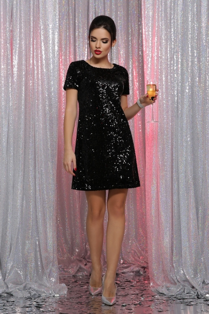 черное платье с пайетками. Платье Ираида к/р. Цвет: черный-черный купить