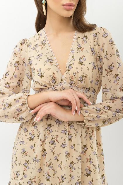 бежевое платье с цветами. Платье Бернарда д/р. Цвет: бежевый-голубой цветок цена
