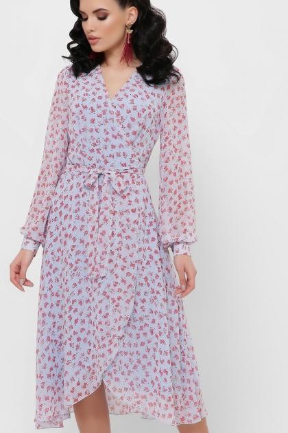 нежное платье на запах. Платье Алеста д/р. Цвет: голубой-цветы красн. цена