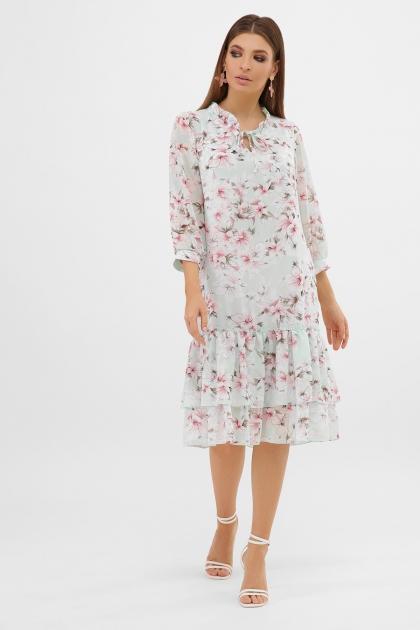 платье хаки из шифона. Платье Элисон 3/4. Цвет: мята-цветы розов. купить