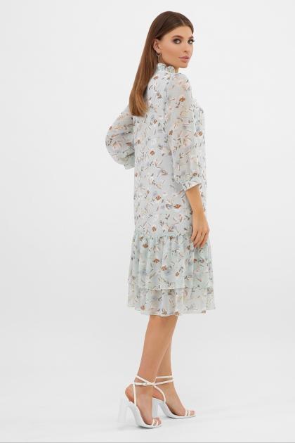 платье хаки из шифона. Платье Элисон 3/4. Цвет: мята-цветы в интернет-магазине