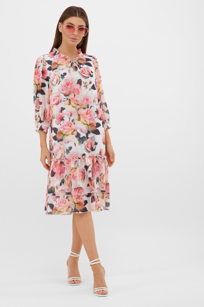 платье хаки из шифона. Платье Элисон 3/4. Цвет: белый-розы купить