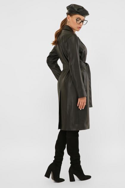 кожаный плащ коричневого цвета. Плащ 108-100 (К). Колір: 601-черный в интернет-магазине