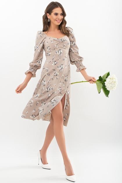 . Платье Пала д/р. Цвет: бежевый-белый букет в интернет-магазине