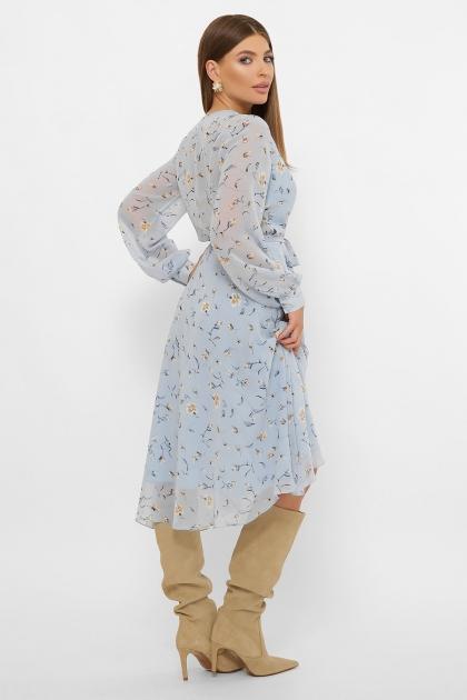 нежное платье на запах. Платье Алеста д/р. Цвет: голубой-цветы цена