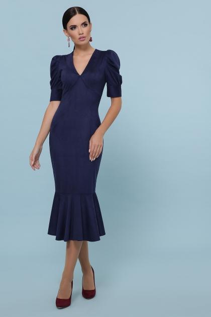бордовое платье с воланом внизу. Платье Дания к/р. Цвет: синий цена