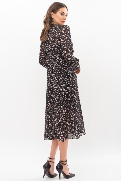 . Платье Мануэла д/р. Цвет: черный-цветы в интернет-магазине