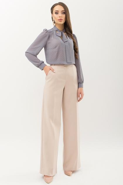 серая блузка в горошек. Блуза Аза д/р. Цвет: серый-пудра м.горох в интернет-магазине