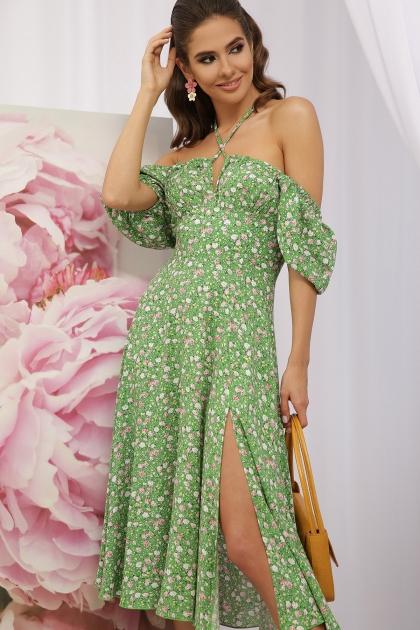 . Платье Билла к/р. Цвет: зеленый-розов. Розы цена