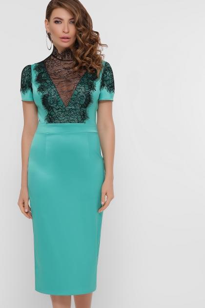 кружевное атласное платье. Платье Дафния к/р. Цвет: св. зеленый купить