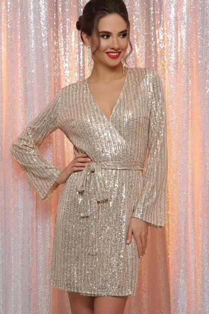 золотистое платье с запахом. Платье Земфира д/р. Цвет: золото-серебро купить