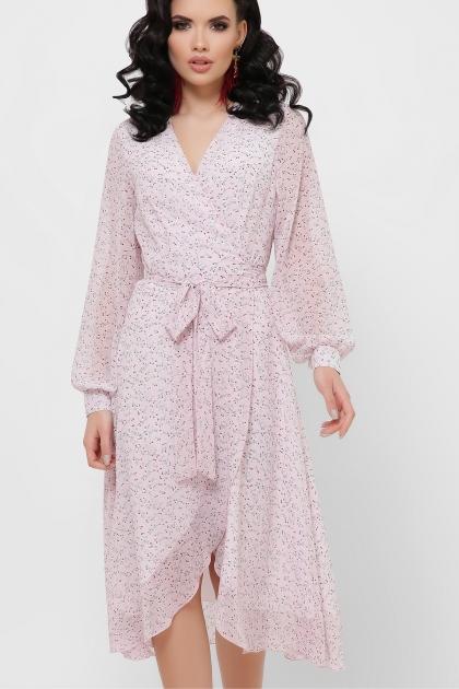 нежное платье на запах. Платье Алеста д/р. Цвет: розовый-цветы м. цена