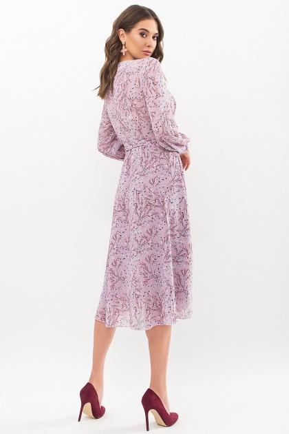 нежное платье на запах. Платье Алеста д/р. Цвет: сиреневый-голуб.м.цветок в интернет-магазине