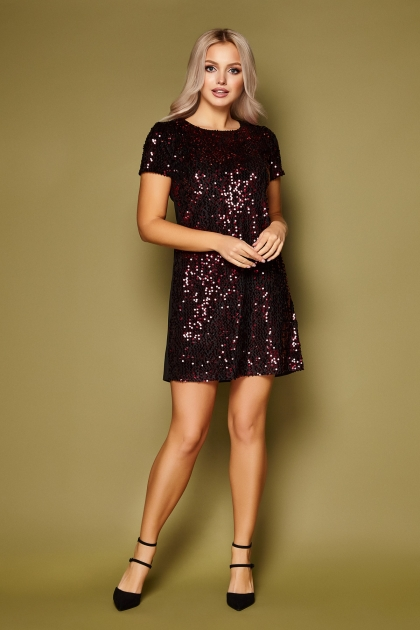 черное платье с пайетками. Платье Ираида к/р. Цвет: черный-бордо купить