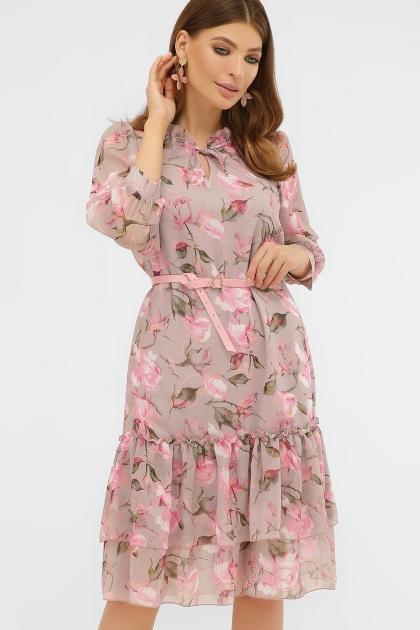 платье хаки из шифона. Платье Элисон 3/4. Цвет: капучино-розы розов. цена