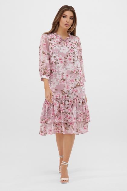 платье хаки из шифона. Платье Элисон 3/4. Цвет: розовый-цветы розов. цена
