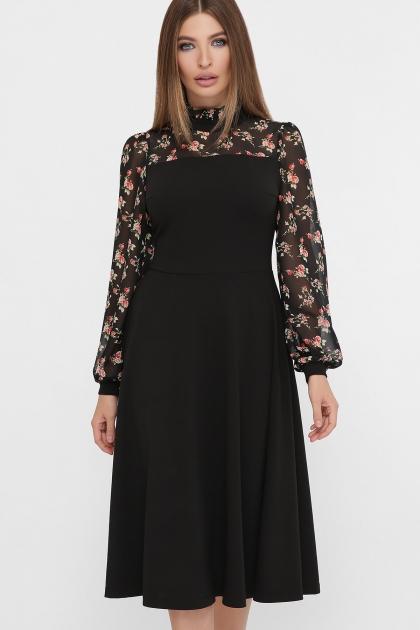 черное платье с цветами. Платье Алтея д/р. Цвет: черный купить