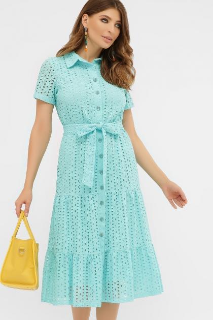 персиковое платье из хлопка. Платье Уника 1 к/р. Цвет: бирюза купить