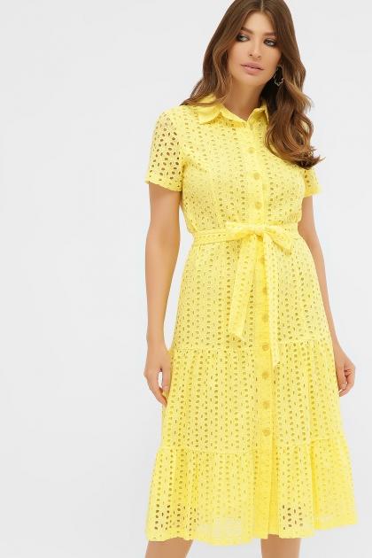 персиковое платье из хлопка. Платье Уника 1 к/р. Цвет: желтый купить