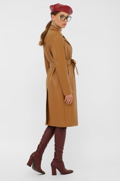кожаный плащ коричневого цвета. Плащ 108-100 (К). Колір: 606-горчица в интернет-магазине