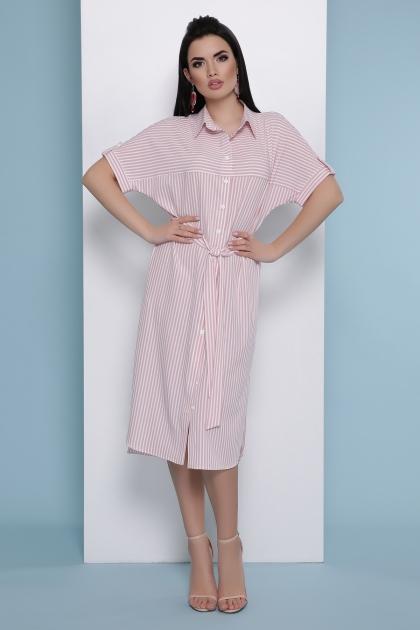 платье-рубашка в голубую полоску. Платье-рубашка Дарья к/р. Цвет: розовая полоска купить
