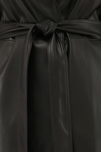 кожаный плащ коричневого цвета. Плащ 108-100 (К). Колір: 601-черный в Украине