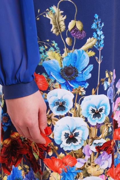 синее платье с цветами для полных. Индиго букет Платье Тана-3Б КД д/р. Цвет: принт цена