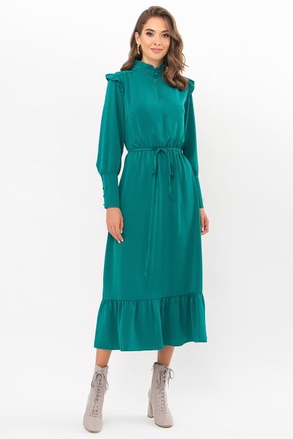 изумрудное платье миди. Платье Фернанда д/р. Цвет: изумруд купить