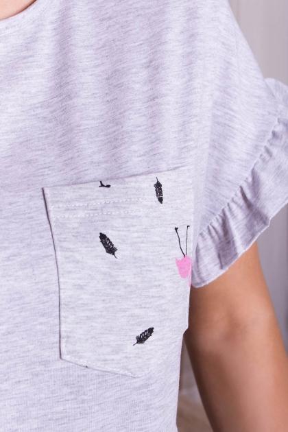 короткая пижама с шортами. Пижама Лиэль. Цвет: серый-фламинго в Украине