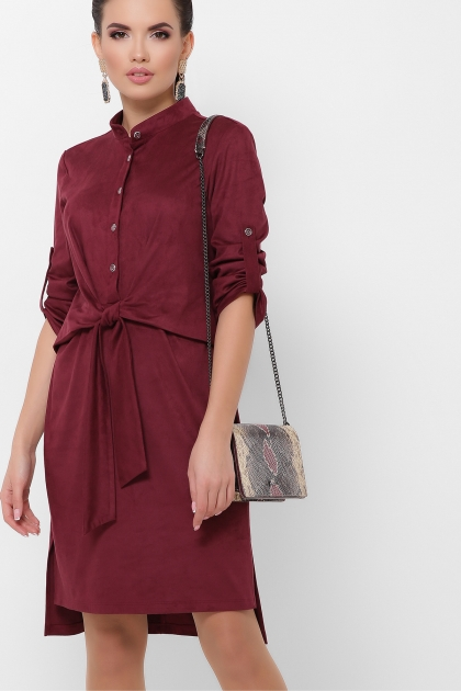 бордовое платье из замши. Платье Мерида д/р. Цвет: бордо купить