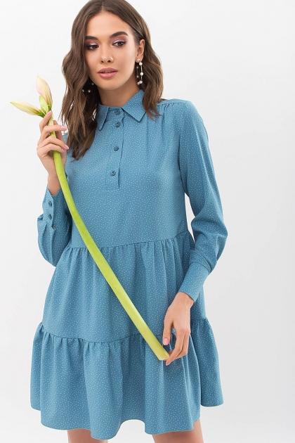 . Платье Наваль д/р. Цвет: бирюза-точка белая купить
