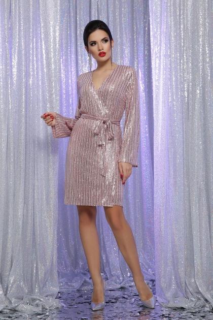 золотистое платье с запахом. Платье Земфира д/р. Цвет: пудра-серебро купить