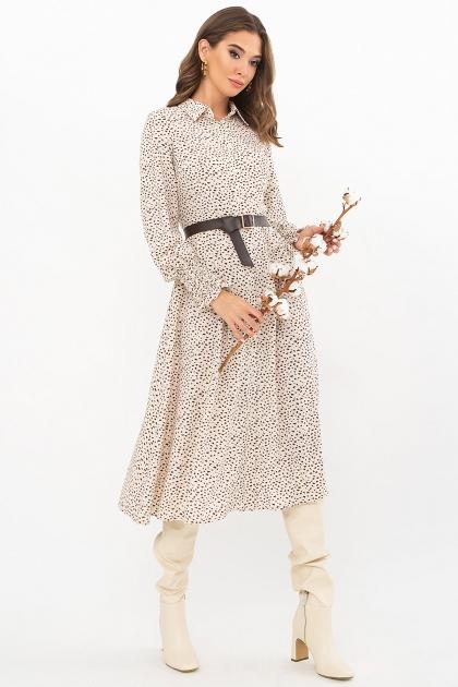 синее платье с поясом. Платье Кария д/р. Цвет: молоко-разноцв.пятна цена