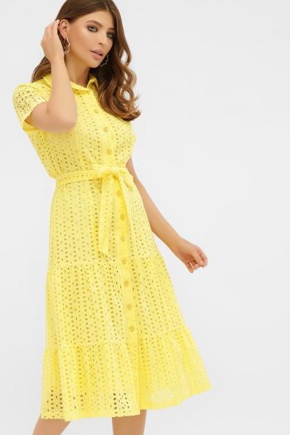 персиковое платье из хлопка. Платье Уника 1 к/р. Цвет: желтый цена