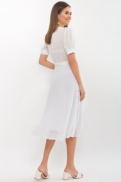 . Платье Алеста к/р. Цвет: белый-черный м. горох цена