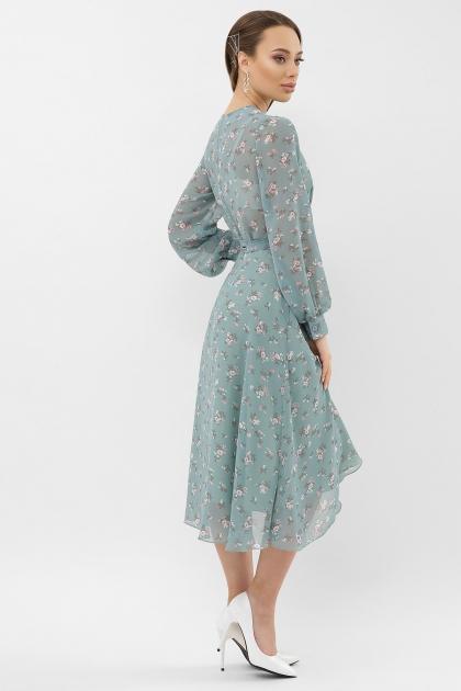 нежное платье на запах. Платье Алеста д/р. Цвет: бирюза-белый цветок в интернет-магазине