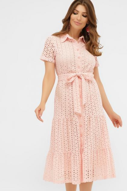 персиковое платье из хлопка. Платье Уника 1 к/р. Цвет: персик купить