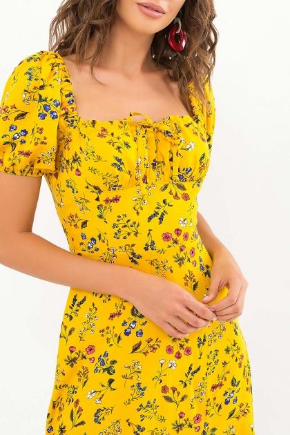 . Платье Билла к/р. Цвет: желтый-разноцв.цветы в интернет-магазине