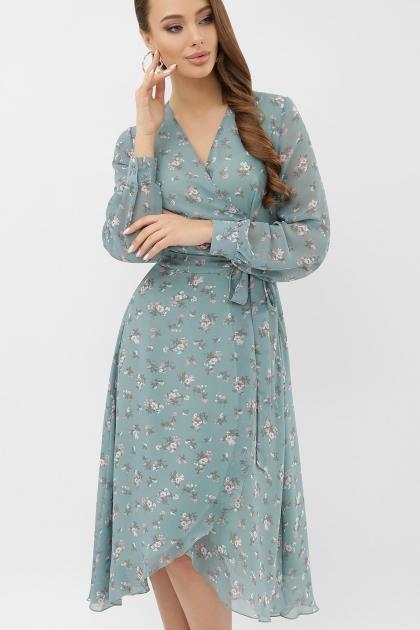 нежное платье на запах. Платье Алеста д/р. Цвет: бирюза-белый цветок цена